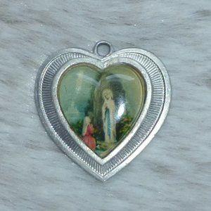Vintage Religious Heart Pendant Silver Saint Mary